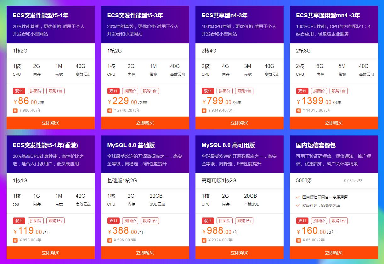 2019阿里云双十一服务器拼团活动:云服务器最低仅需86/年插图(1)